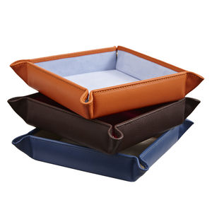 Leather Coin Tray Brown Orange Or Blue - mens
