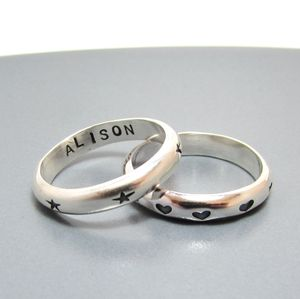Hearts And Stars Personalised Silver Ring - gifts for her