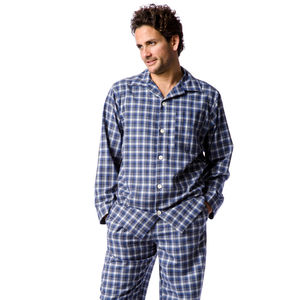 Men's Dark Blue Check Brushed Cotton Pyjamas - men's fashion