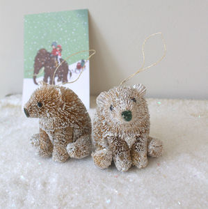 Set Of Two Brush Sparkling Christmas Bears - tree decorations