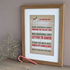 Festive Family Traditions, Personalised Christmas Print - family & home