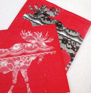 Lace Moose Christmas Paper Napkins