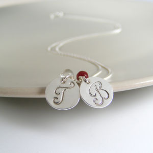 Silver Double Initial Birthstone Necklace - personalised jewellery