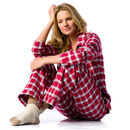 Women's Red Check Brushed Cotton Pyjamas