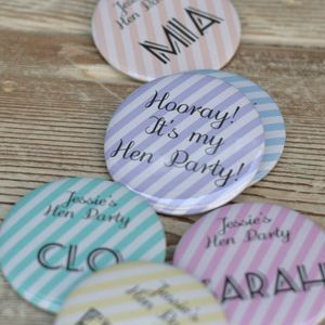 Pastel Stripe Personalised Hen Party Badge