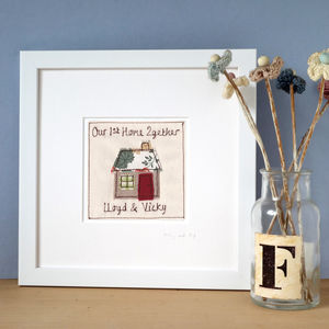 Personalised Embroidered House Picture, Framed - pictures & prints for children