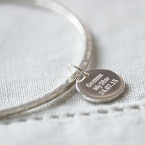 Hammered Bangle With Personalised Pendant