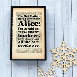 Alice In Wonderland Mad Hatter Quote Print - posters & prints