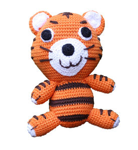 Knitted Cotton Tiger With The Rattle Inside - toys & games