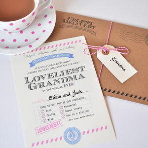 Personalised 'Loveliest Grandma' Certificate - view all gifts for her