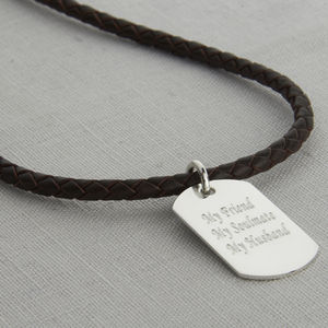 Personalised Polished Silver Dogtag Leather Necklet