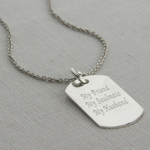 Personalised Polished Sterling Silver Dog Tag Necklace