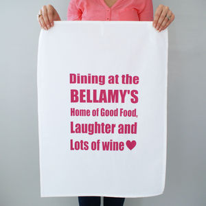 Personalised 'Dining At Yours' Tea Towel