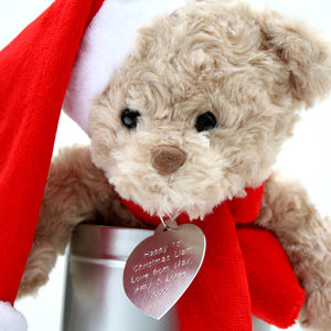 Personalised Christmas Teddy In A Tin - toys & games