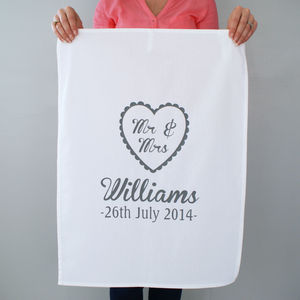 Personalised 'Mr And Mrs' Wedding Tea Towel - cooking & food preparation