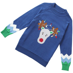 Blue Boys Rudolph Knitted Christmas Jumper