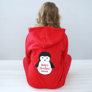 Personalised Christmas Penguin Onesie - lingerie & nightwear