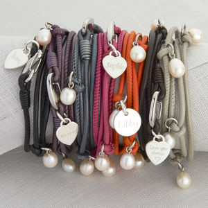 Personalised Sterling Silver And Pearl Wrap Bracelet