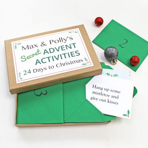 Personalised Secret Advent Activities Box - cards