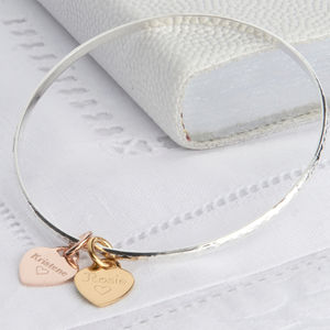 Personalised Mixed Precious Metal Charm Bangle