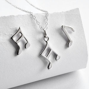 Silver Music Note Jewellery Set