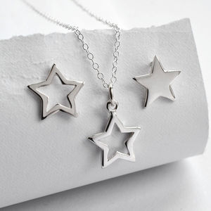 Silver Open Star Jewellery Set