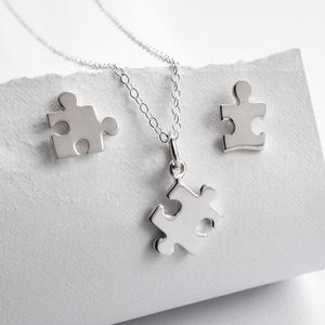 Silver Jigsaw Puzzle Jewellery Set - jewellery sets