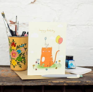 'Happy Birthday' Cat And Balloons Card