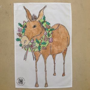 Donkey With A Wreath Christmas Tea Towel - kitchen accessories