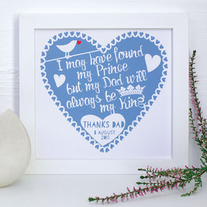 Personalised Father Of The Bride Framed Print - wedding thank you gifts