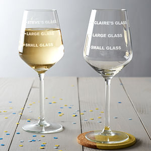 Personalised Drinks Measure Wine Glass - home sale