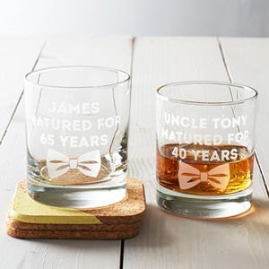 Personalised 'Dickie Bow' Whisky Glass - tableware