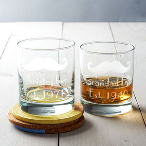 Personalised 'Moustache' Whisky Glass - beard & moustache gifts
