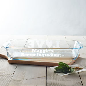 Personalised 'Secret Ingredient' Glass Dish - baking accessories
