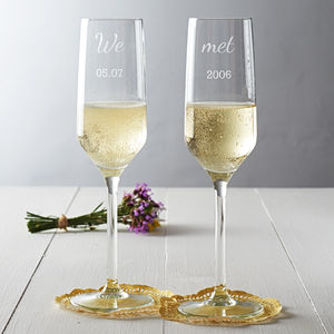 Personalised 'We Met' Couples Champagne Flute Set - dining in