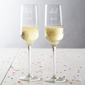 Personalised 'We Did' Anniversary Champagne Glass Set - drink & barware