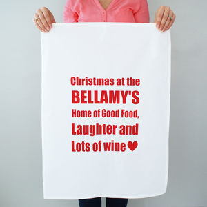 Personalised Christmas At Yours Tea Towel