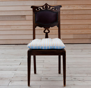 Ledbury Ochre Grey And Malvern Lapis Chair Pad - bedroom