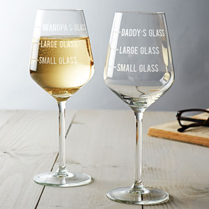 Personalised Dad's Measure Wine Glass - sale by category
