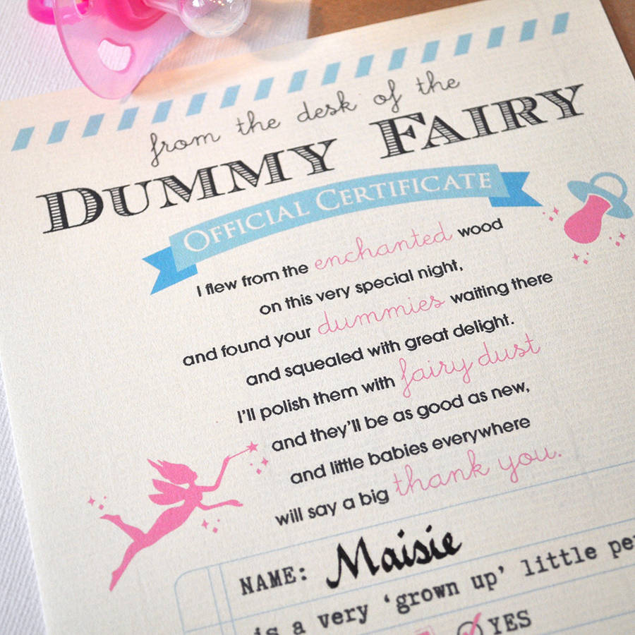 personalised 'dummy fairy' certificate by eskimo kiss ...