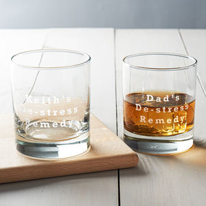 Personalised 'De Stress Remedy' Glass - drink & barware