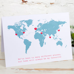 Personalised World Journey Map Card - anniversary cards
