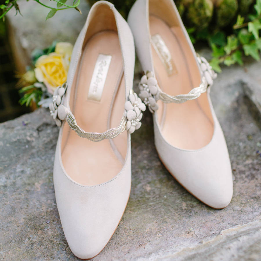 Myrtle Ivory Suede Wedding Shoes By Rachel Simpson