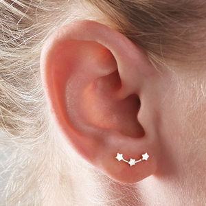 Silver Stars Ear Studs - stocking fillers