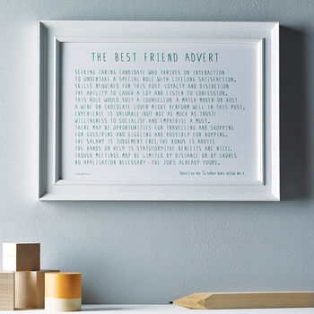 'Best Friend Advert' Poem Print