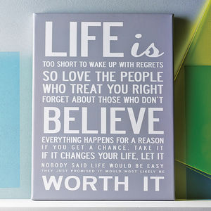 'Life Is Too Short' Quote Print Or Canvas - shop by subject
