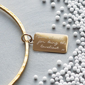 Personalised Tiny Tag Message Bangle - 30th birthday gifts