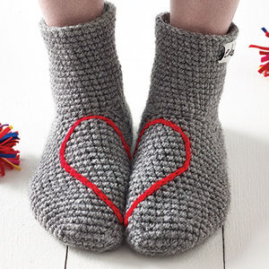 Hidden Love Heart Crochet Slipper Socks - keeping cosy