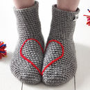 Hidden Heart Crochet Socks