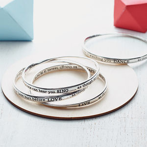 Set Of Four Meaningful Words Bangles - gifts for sisters